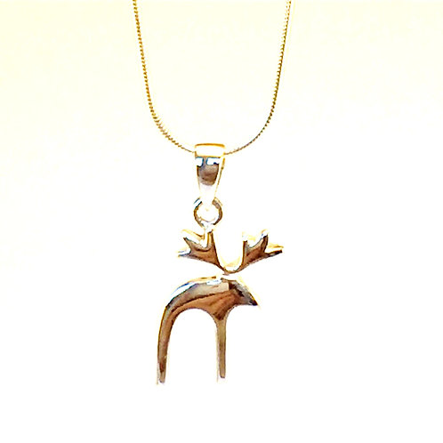 Reindeer sterling  silver  necklace pendant or silver moose pendant