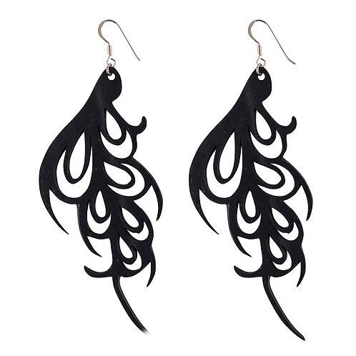 Upcycled inner tube earrings . Vegan friendly . Silver Hooks. Delicate pattern. Statement earrings