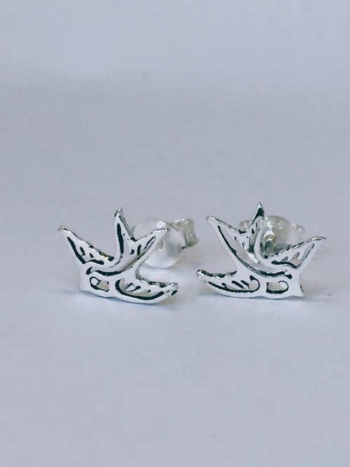 Bluebird swallow silver stud earrings