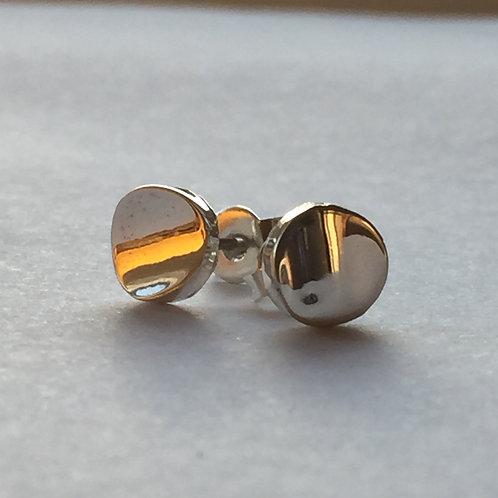 Concave Button Silver Studs