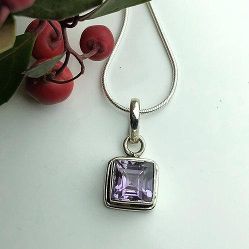Square cut stone pendant