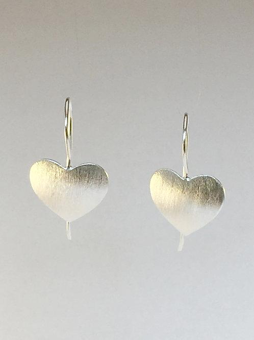 Matt Silver heart earrings