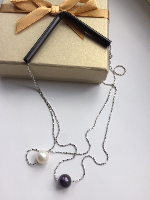 Tangle free necklace silver pearl