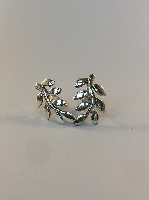 Sterling silver ash leaf stud earrings
