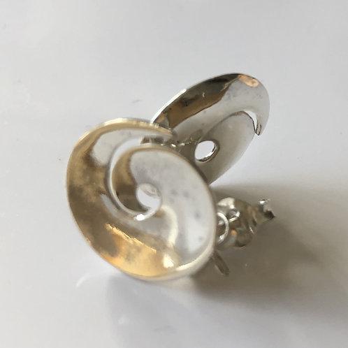 Silver swirl stud earring 80s style large