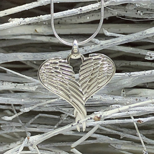 Sterling silver angel wing heart necklace