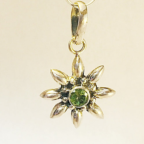 Anemone flower pendant sterling silver with amethyst peridot and gar