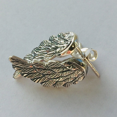 Angel wing silver stud earrings . Christmas earrings