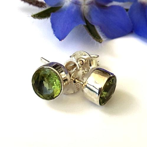 Rubover Peridot stud earring in sterling silver setting. August Birthstone