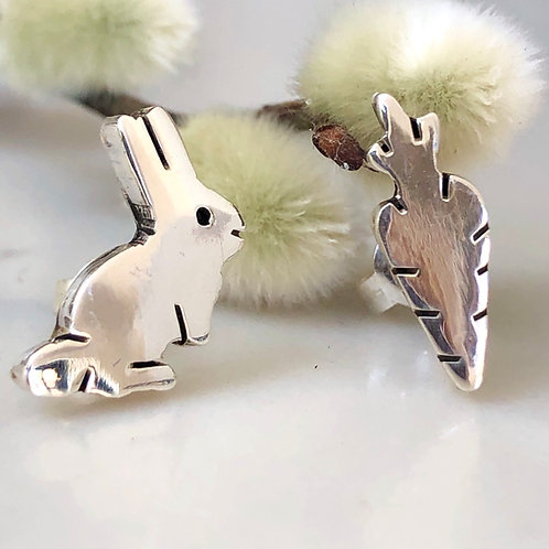 Sterling silver rabbit and carrot stud earrings