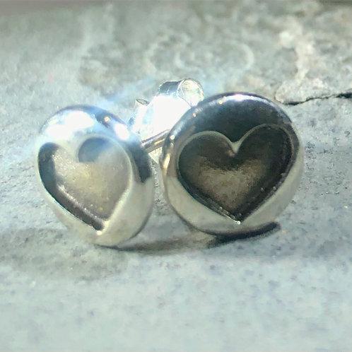 Oxidised Heart Push Back SIlver Stud Earrings