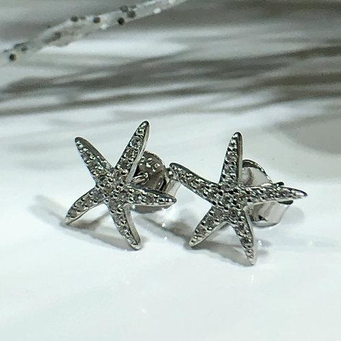 Diamante starfish stud earrings in sterling silver