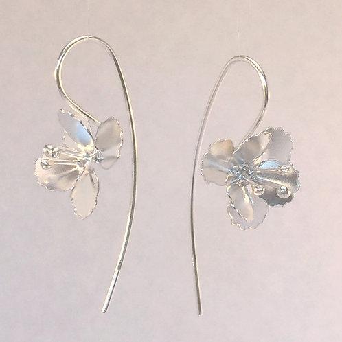 Silver Poppy Earring  Flower Dangly Earring