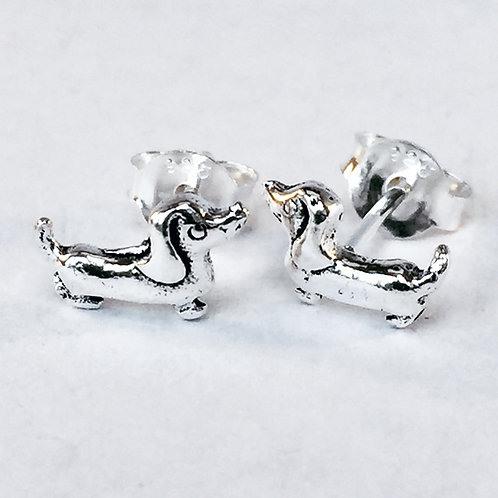 Mini Dachsund Sterling SIlver Stud Earrings
