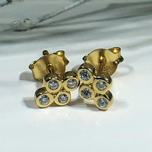 Gold vermeil diamond diamante stud earrings