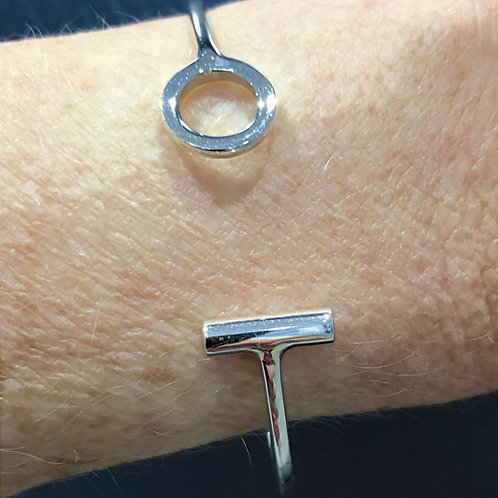 Bar and Circle open bracelet sterling silver