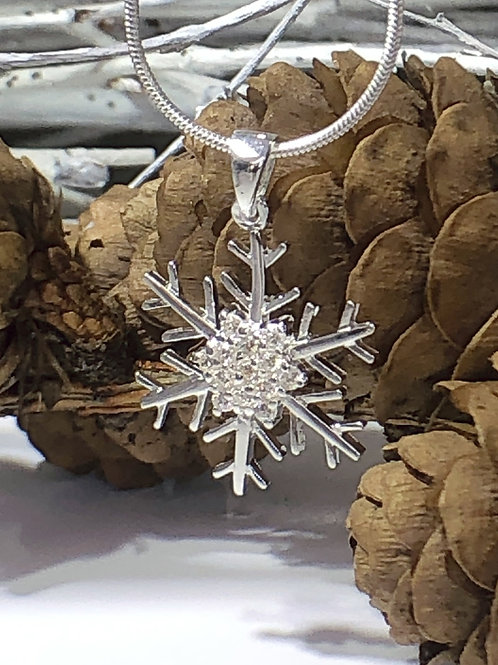 Sparkling silver snowflake pendant on snake chain sterling silver