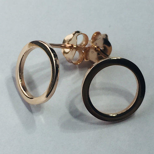 Pink Gold plated silver circle Earrings Push Back