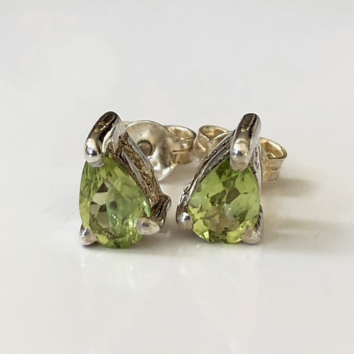 Peridot raindrop stud earrings in sterling silver