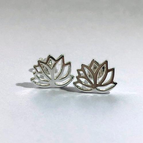 Lotus flower sterling silver stud earring.