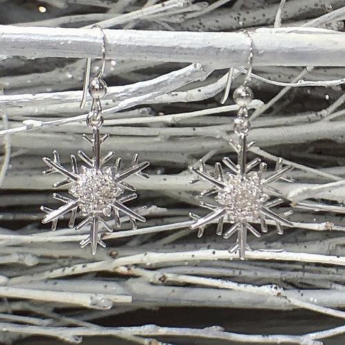 Snowflake Diamante Dangly Earrings