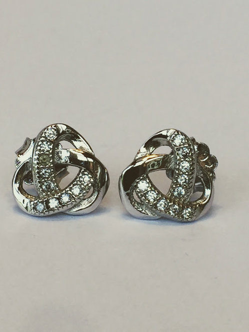 Sparkly celtic knot sterling silver stud earrings
