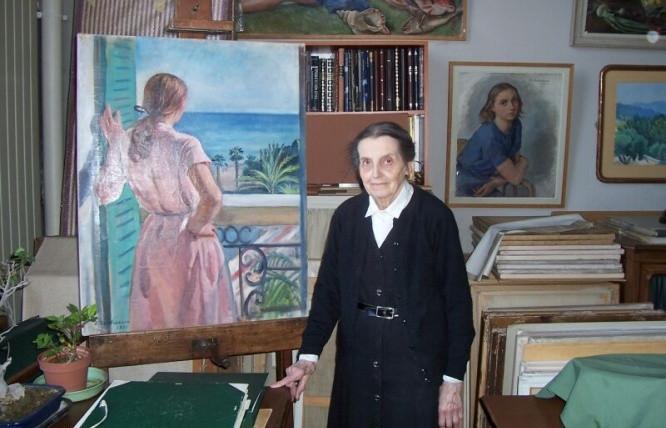 Екатерина Серебрякова в своей мастерской, 2005 год, Париж