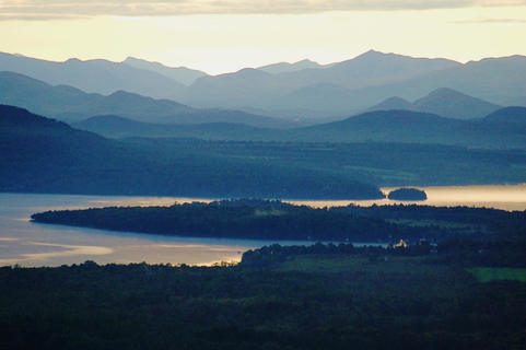 adirondack high peaks and lake view from mt. philo