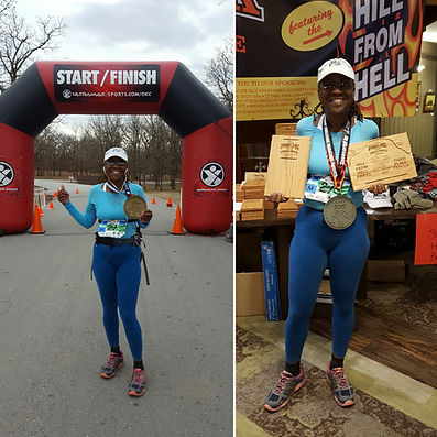Dr. Marilyn at the finish line of the Postoak Challenge, Tulsa, OK, 2017.
