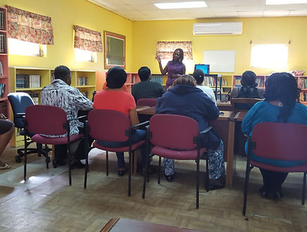 Dr. Marilyn training workers at Children's Home in Nassau, The Bahamas, 2014.