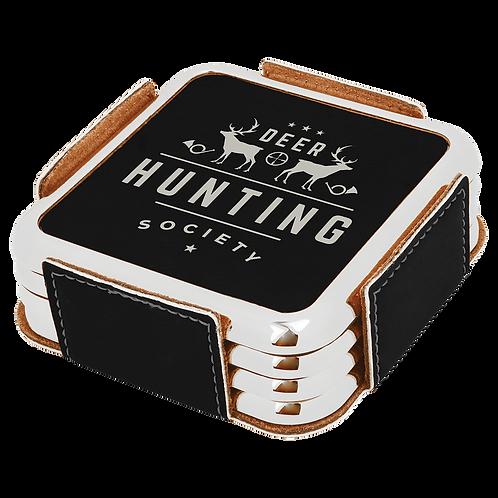 Square Leatherette Coaster Metallic Edge Set