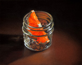 Orange Slice in a Glass Jar_pastel and w