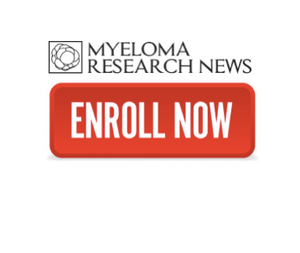 Image shows Myeloma Research News logo with Enroll Now button