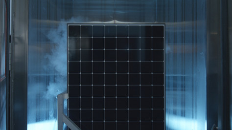 B-roll of solar panel in thermal testing chamber
