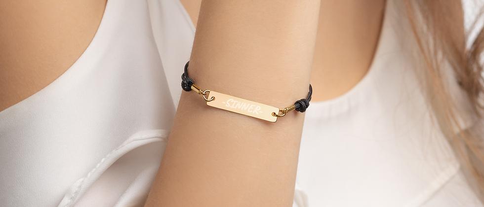 """""""Sinner"""" Engraved Silver Bar String Bracelet"""