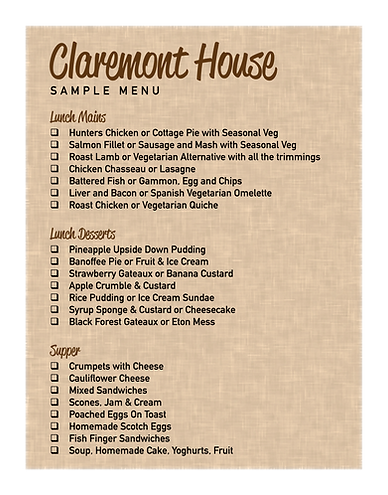 Claremont house, food menu, care home, seaford, east susex