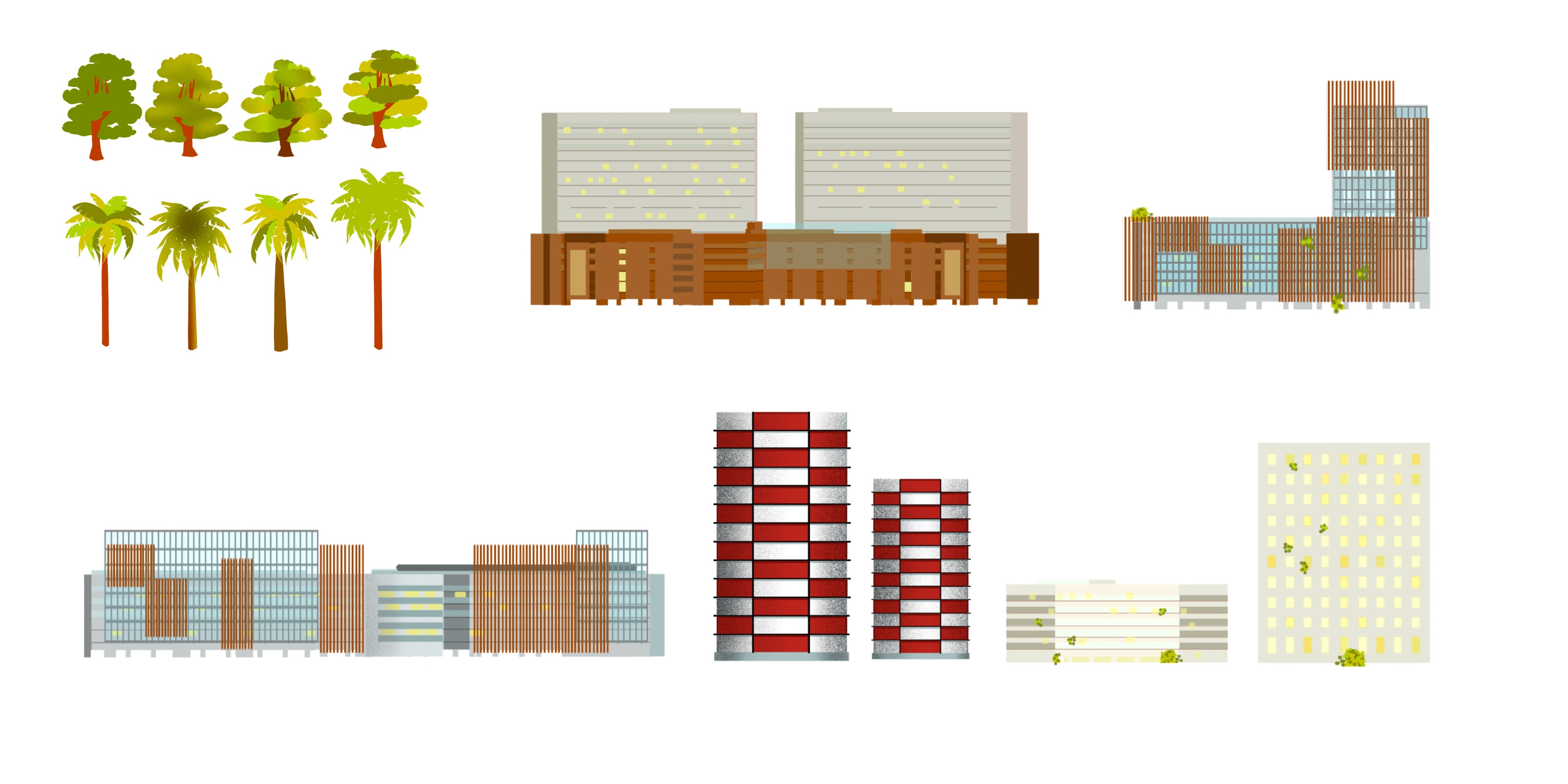 Flat Building Fronts