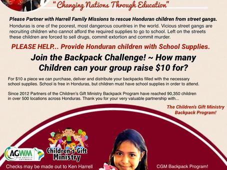 Children's Gift Ministry Backpack Program 2020!
