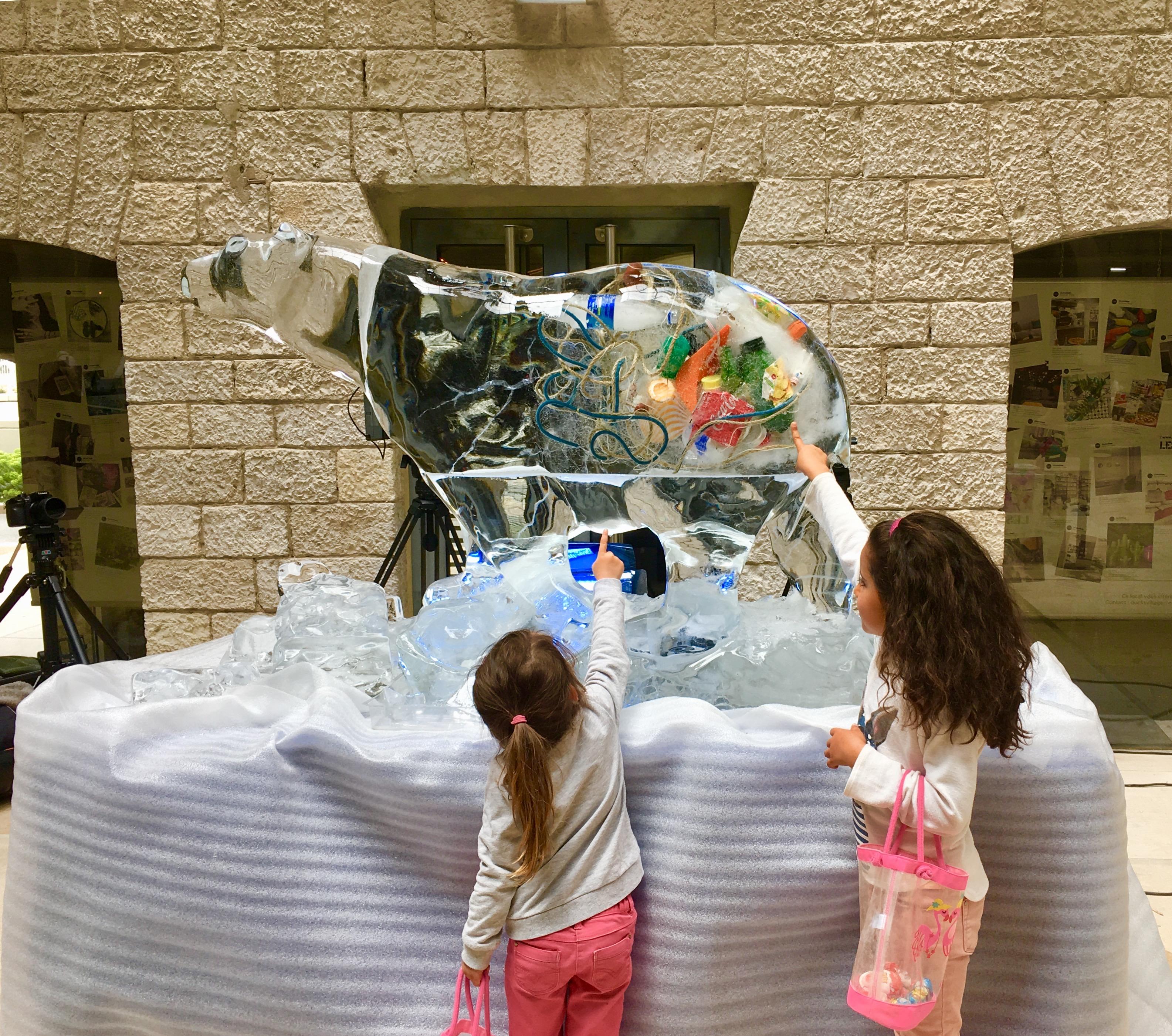 Ours en glace sculptée