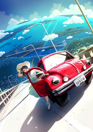 女の子と車・一枚絵