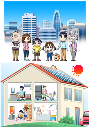 家族・広告系イラスト