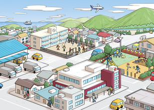 町の遠景・広告向けイラスト