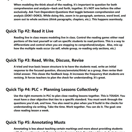 Top Visible Learning Literacy Strategy: Close Reading