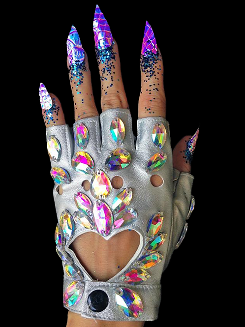 Jewelled Gloves Silver