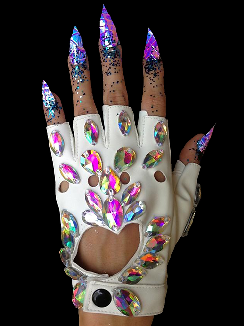 Jewelled Gloves White