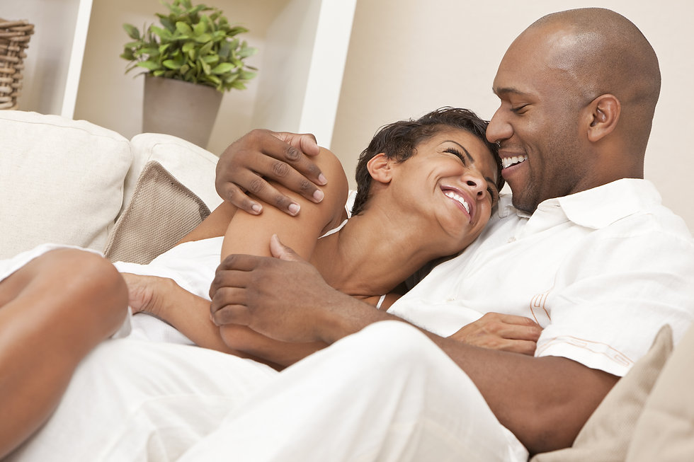 A happy African American man and woman c