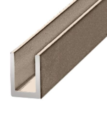 "IUCH38144BN U-CHANNEL FOR SHOWER GLASS 3/4""X 3/4"" BRUSHED NICKEL 12ft"