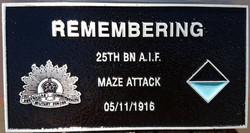 25th Battalion Plaque, Gueudecourt