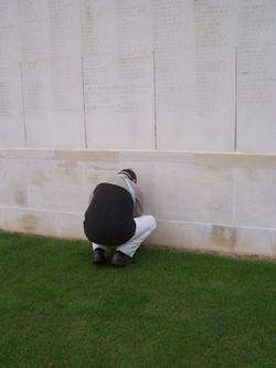 Placing the memorial cross