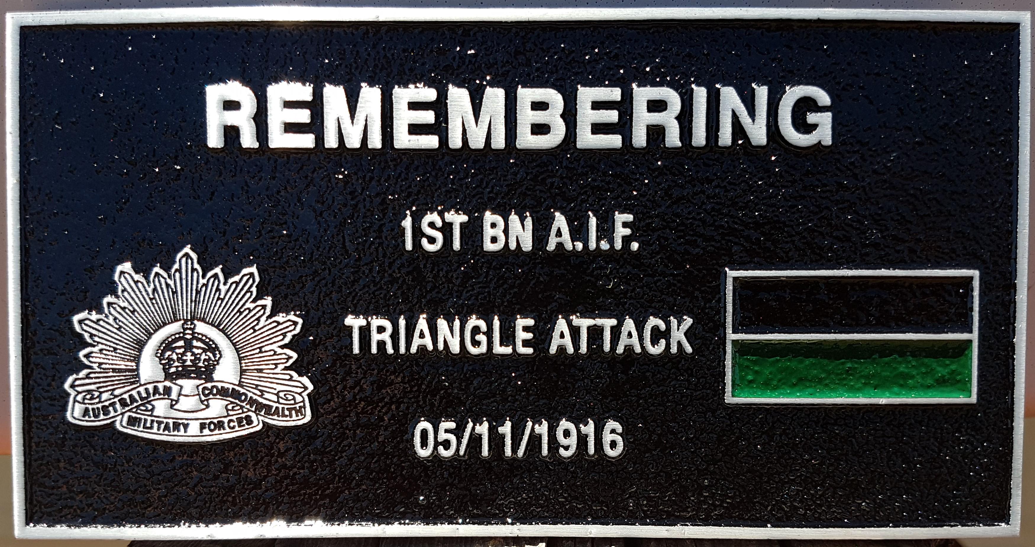 1st Battalion plaque, Gueudecourt
